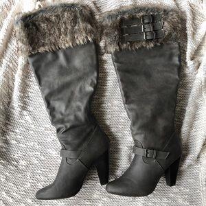 Knee-high, wide calf fur boots